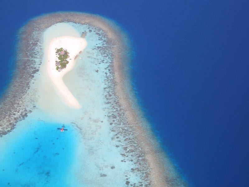 Maldives island sea plane
